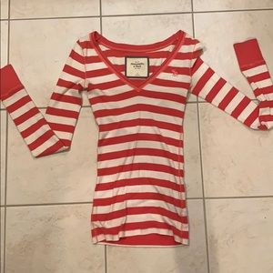 Pink and White Striped Abercrombie & Fitch Shirt
